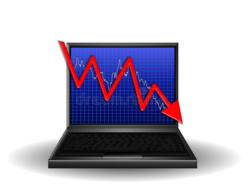 Computer Chart Losing Profits royalty free illustration