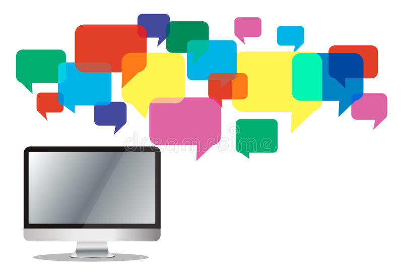 Computer with chat box , message box communication background stock illustration
