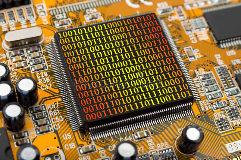Computer chip and bytes royalty free stock photos