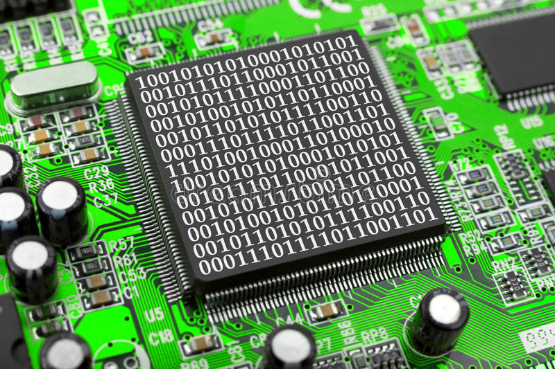 Computer chip and bytes stock image