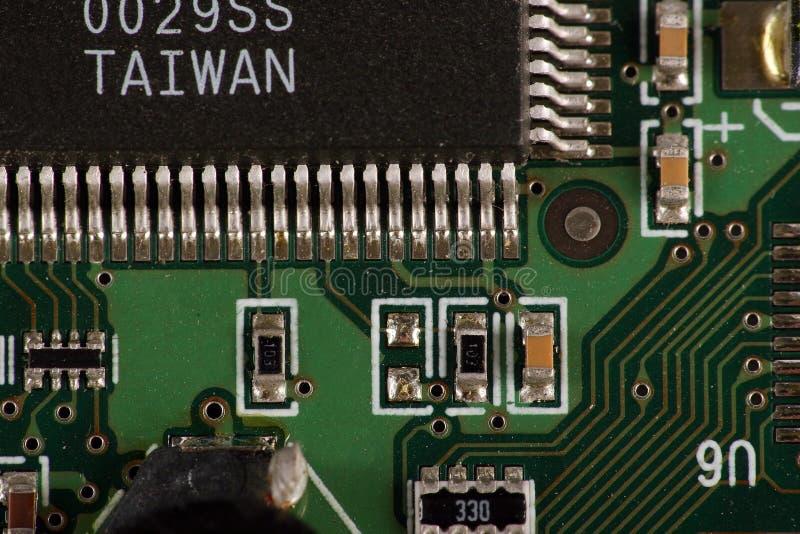 Computer chip on circuit stock photos
