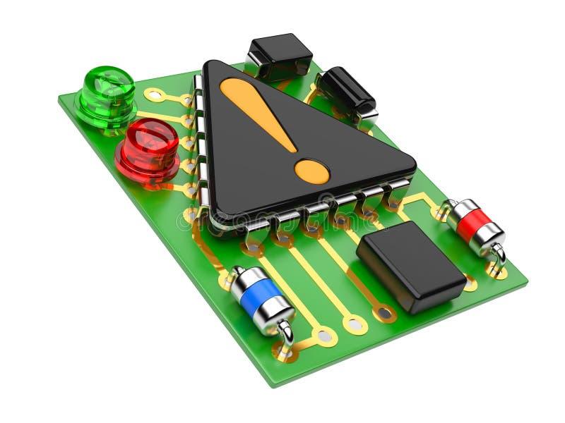 Computer-Chip mit Ausrufszeichen vektor abbildung