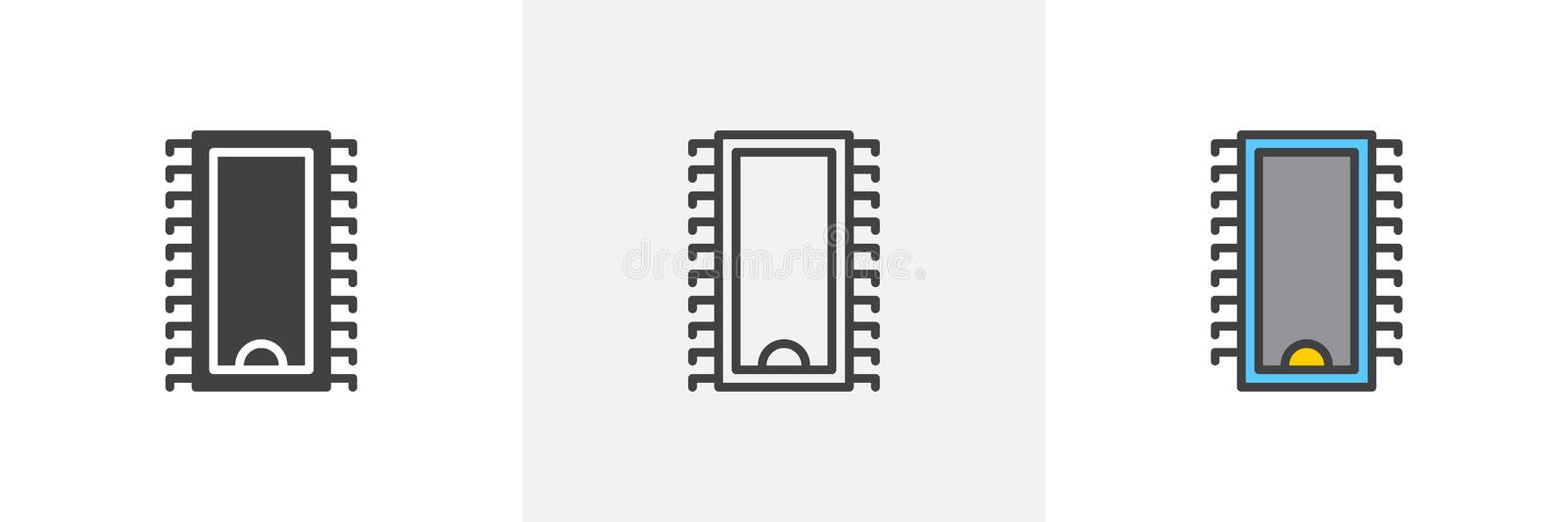 Computer chip icon stock illustration