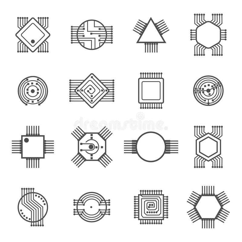 Computer Chip Icons. Electronic Circuit And Processor Signs Vector ...