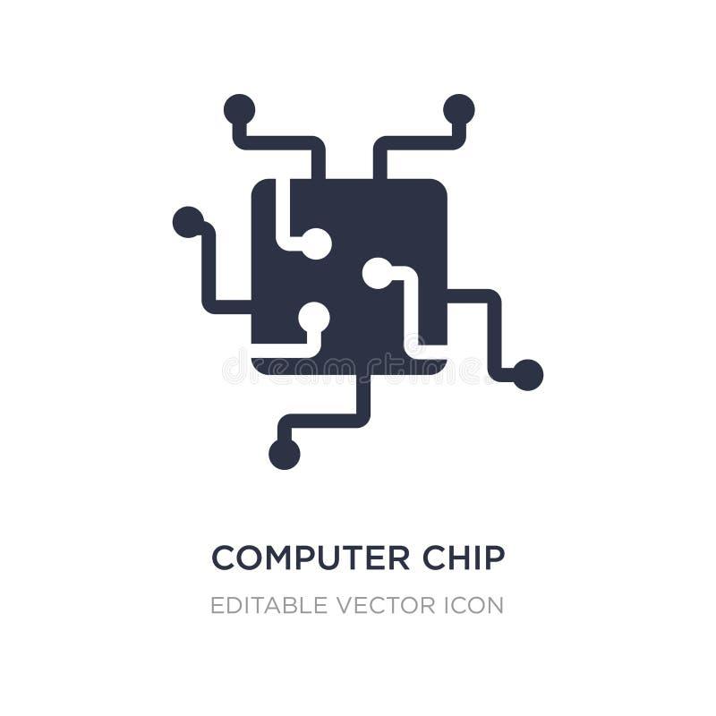 Computer-Chip-Ikone auf weißem Hintergrund Einfache Elementillustration vom Computerkonzept stock abbildung