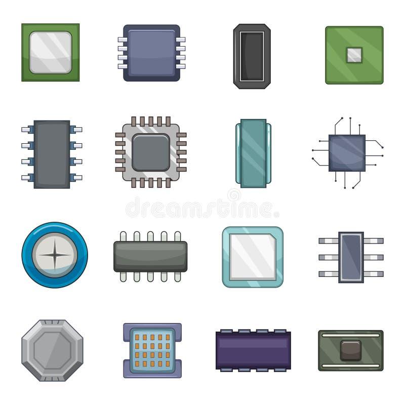 Computer-Chip-Ikonen eingestellt, Karikaturart stock abbildung