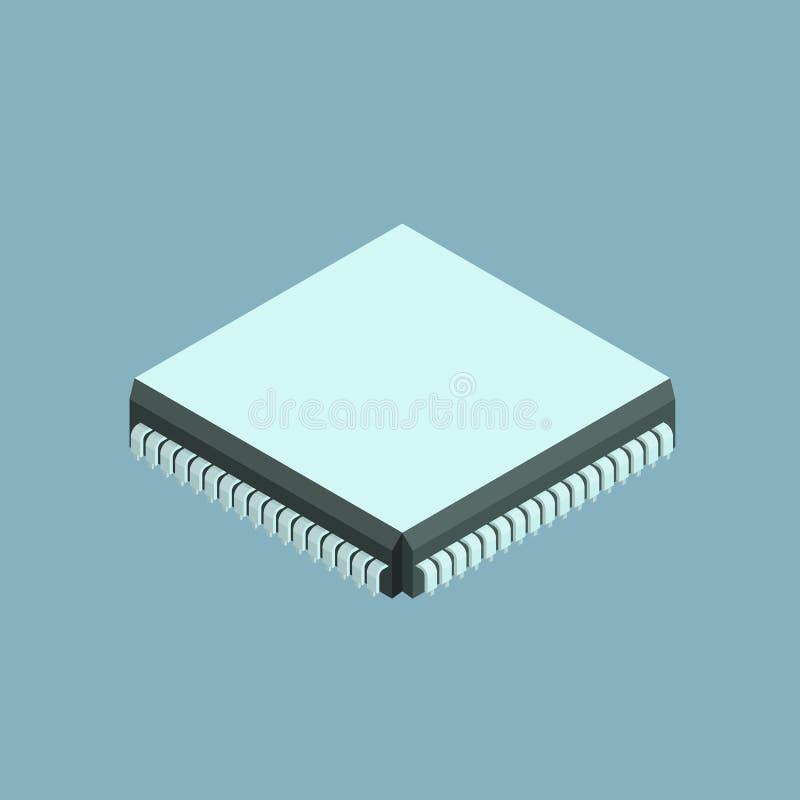 Computer chip isometric icon stock illustration
