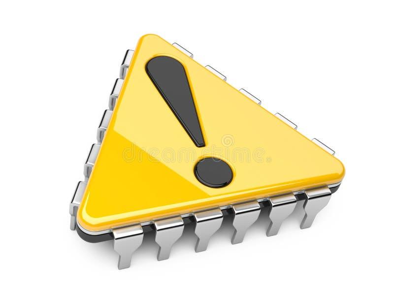 Computer-Chip mit Ausrufszeichen stock abbildung