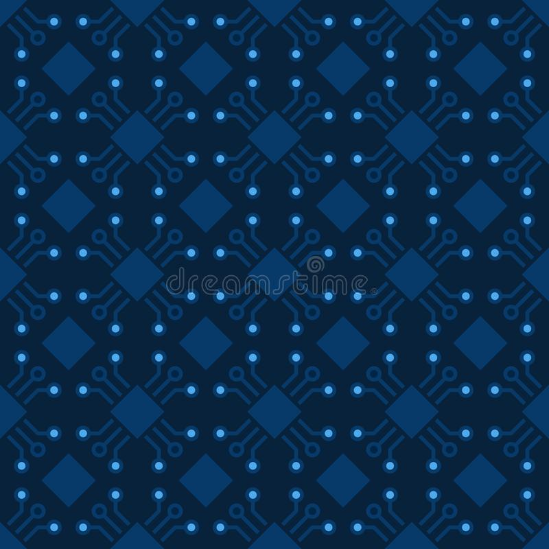 Computer-Chip-Muster Nahtloser Chiphintergrund des Vektors lizenzfreie abbildung