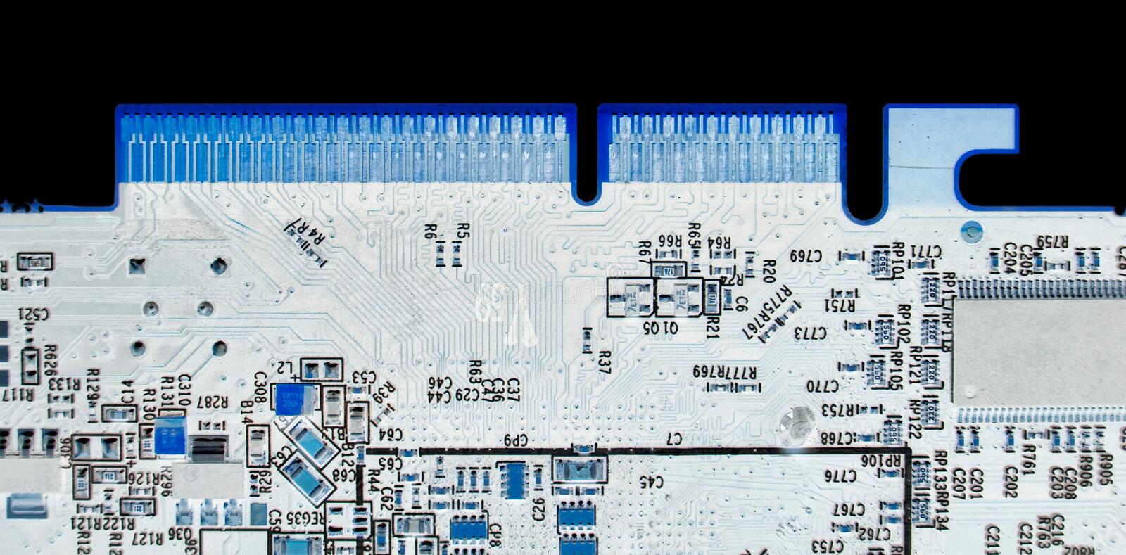 Computer chip x-ray color stock image