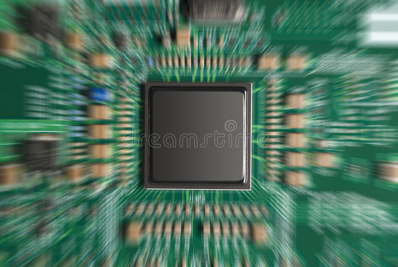 Computer chip zoomed royalty free stock image