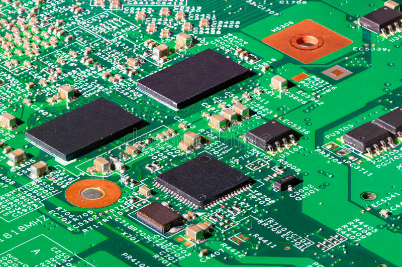 Computer Chips On Circuit Board Stock Photo - Image of network ...