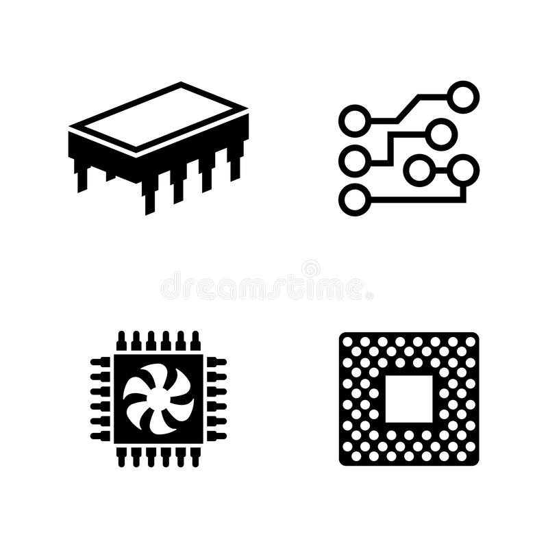 computer chip  electronic microprocessor  stock vector