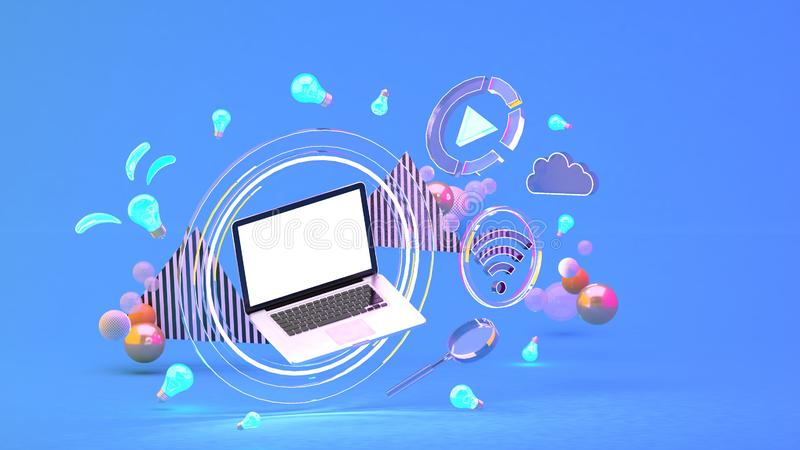Computer in a circle of light Among the social media icons and colorful balls on the blue background. vector illustration