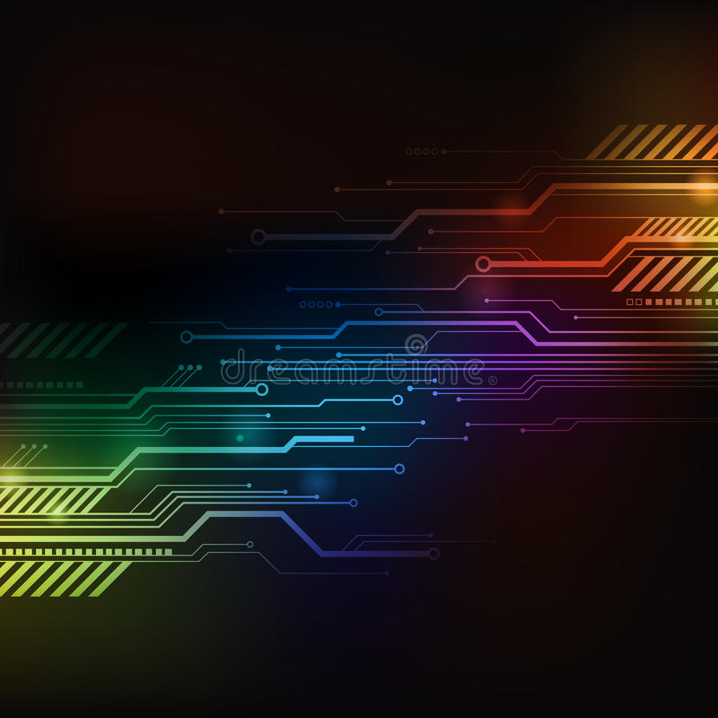 Computer Circuit Background. A colourful computer circuit background close-up stock illustration