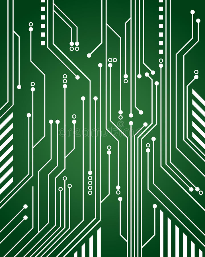 Computer Circuit Background. A green computer circuit background close-up stock illustration