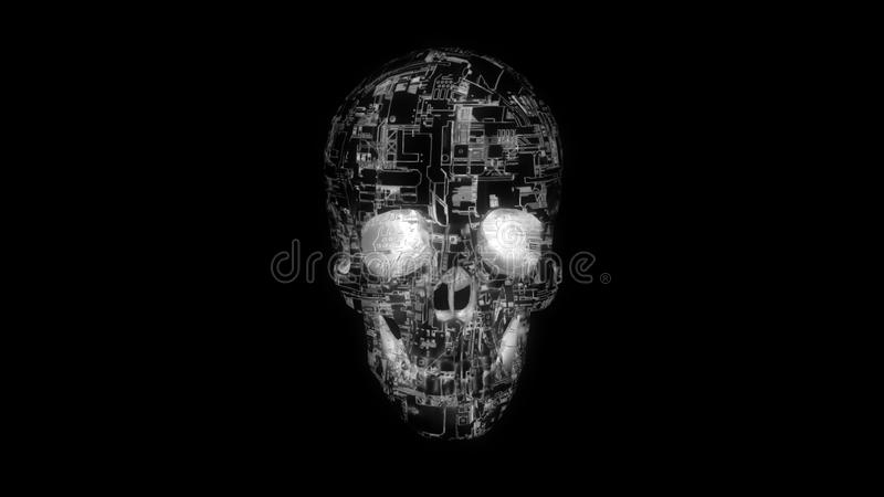 Digital computer skull with glowing  circuitry texture vector illustration