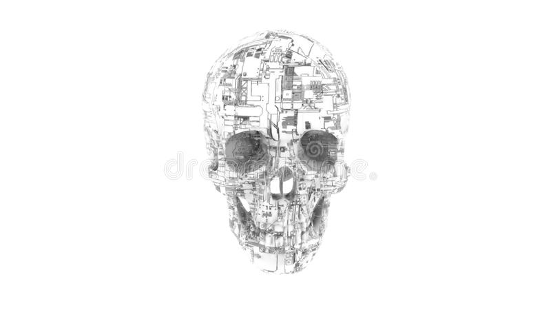 Digital computer skull with circuitry texture stock illustration