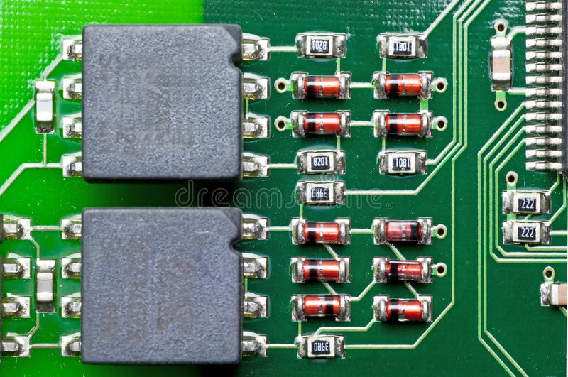 Computer circuit board. On an isdn-card stock images