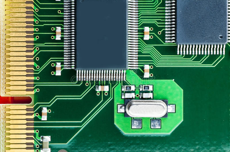 Computer circuit board. On an isdn-card royalty free stock photo