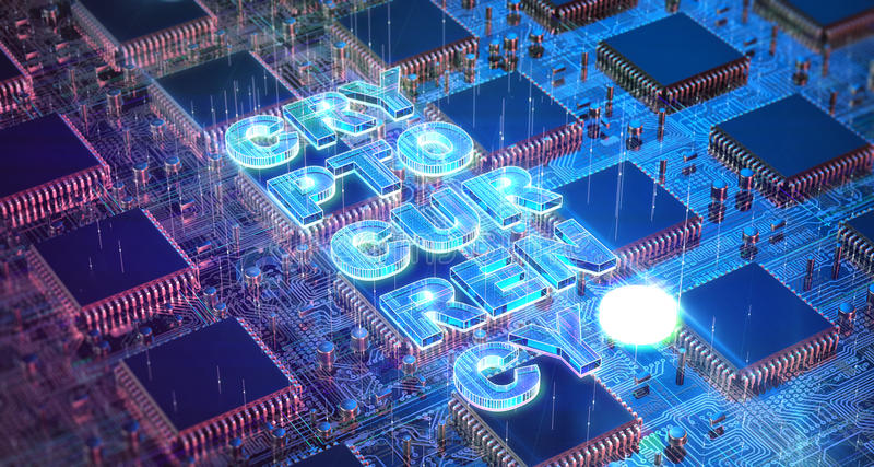 Computer Circuit Board with muliple asic chips and cryptocurrency word. Blockchain Cryptocurrency Mining Concept. 3D vector illustration
