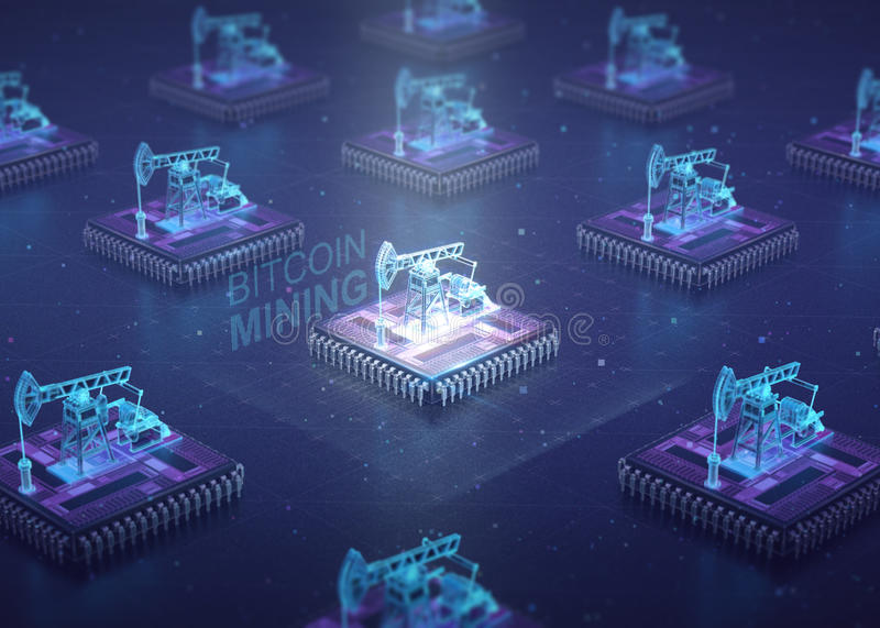 Computer Circuit Board with muliple asic chips and oil pump jacks on top of cpu. Blockchain Cryptocurrency Mining royalty free illustration