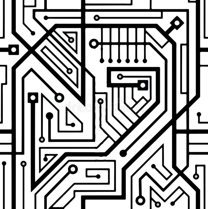 Computer Circuit Board Seamless Pattern Stock Illustration ...