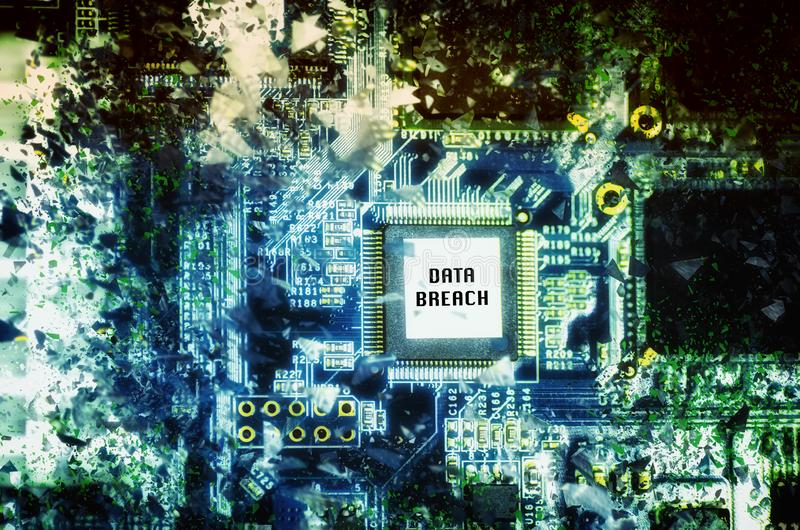 "Computer circuit board with word ""DATA BREACH"" over abstract background. Technology and Digital Business concept, computer circuit board with word stock photos"