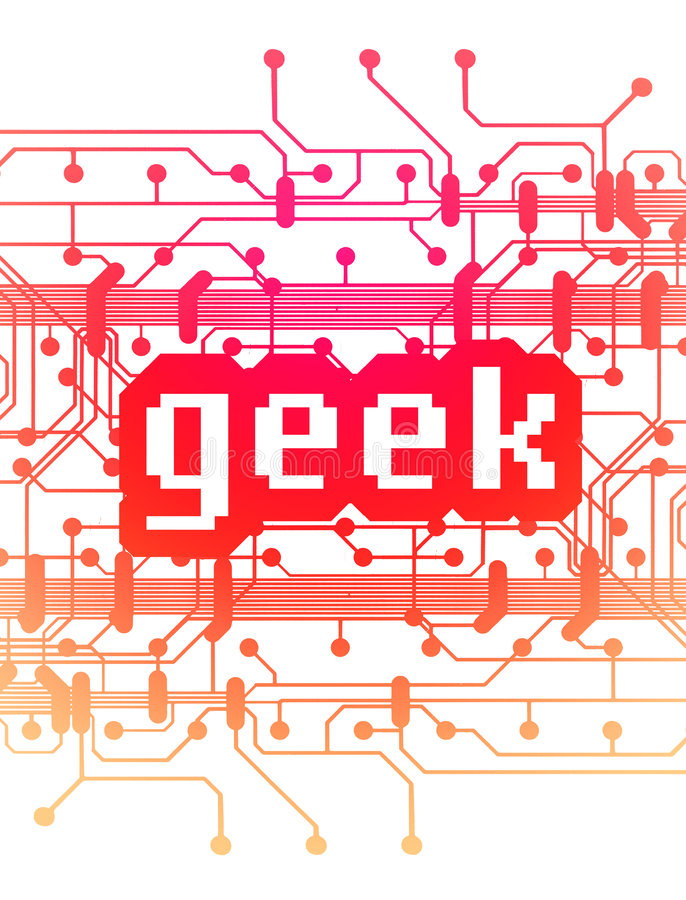 Computer circuit board with word 'Geek' vector illustration