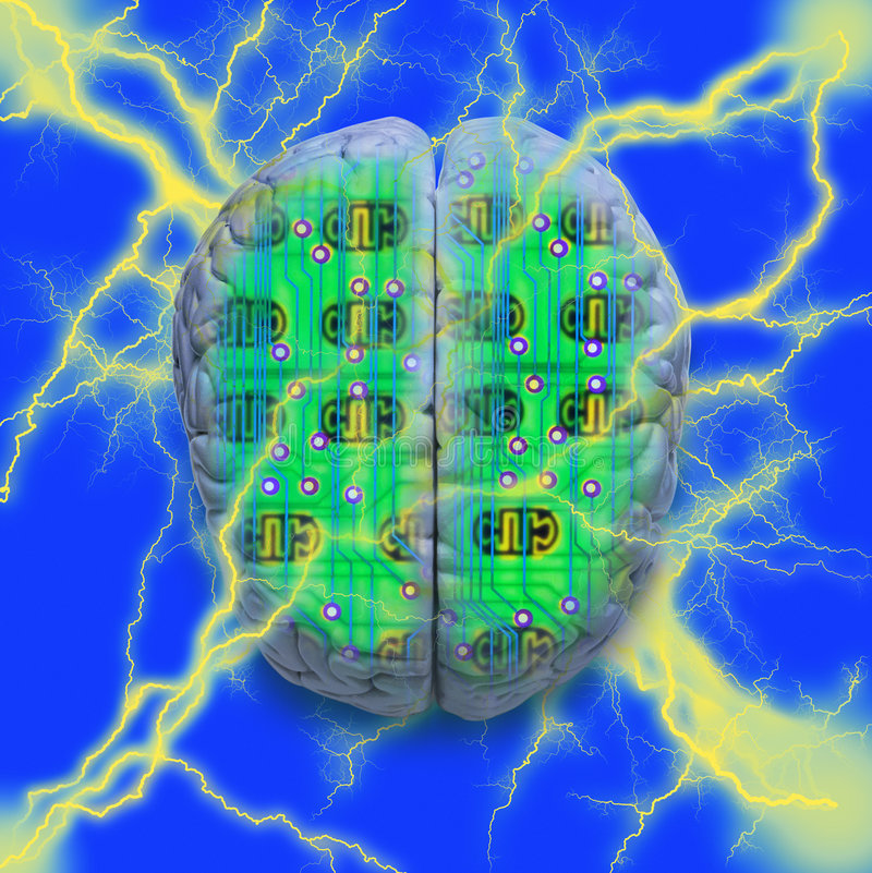 Computer Circuit Brain stock illustration