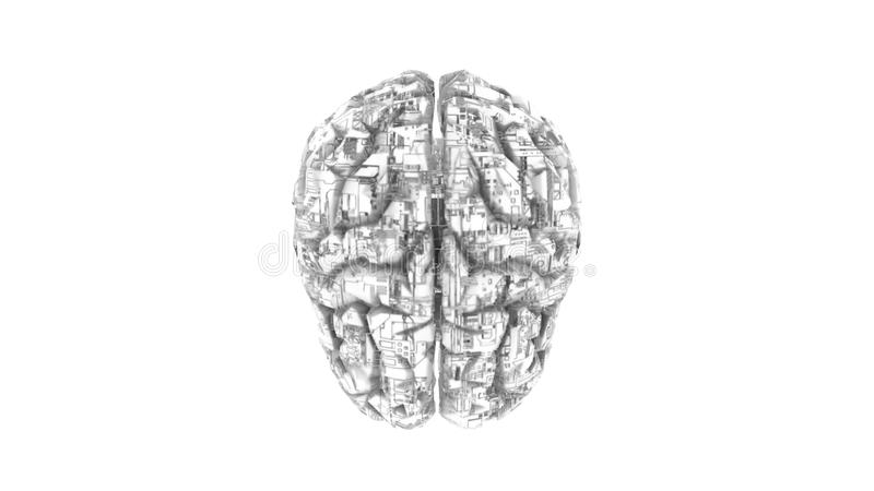 Digital computer brain with circuitry texture in B royalty free illustration