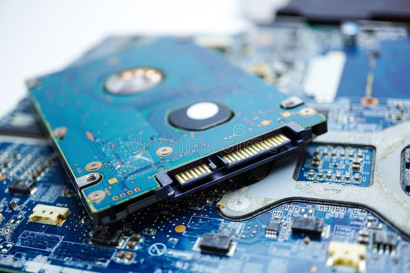 Computer circuit cpu chip mainboard core processor electronics device. Concept of data, hardware, technician and technology stock image