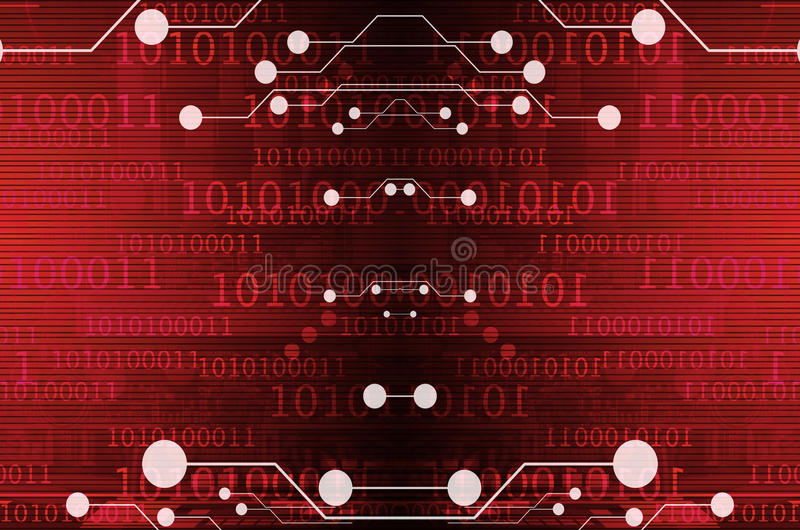 Computer circuit on a dark red background