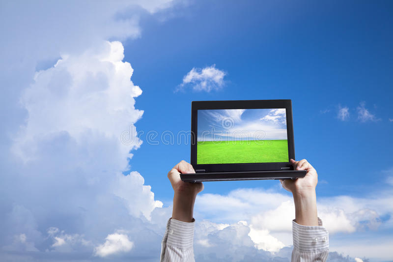 Download Computer in cloud stock image. Image of background, nature - 14932607