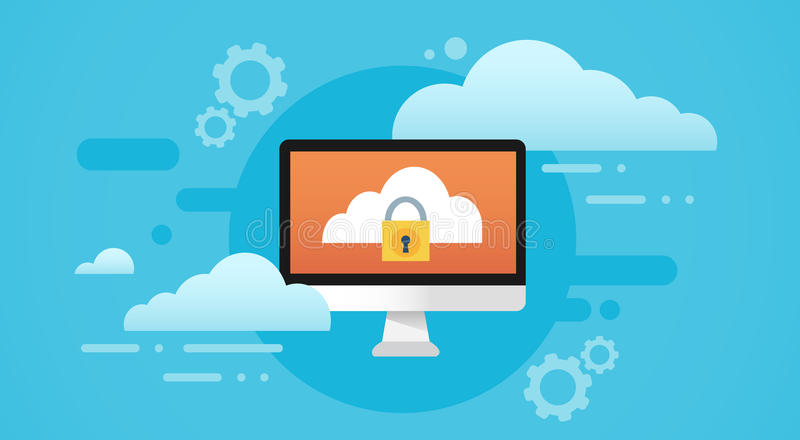 Computer Cloud Database Lock Screen Data Privacy Protection vector illustration