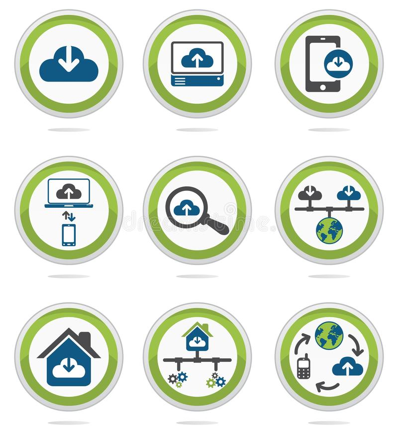Computer cloud icons set. Coloured computer cloud icons set vector illustration