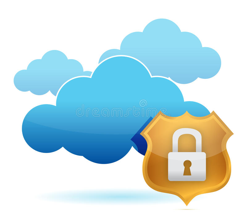 Download Computer Cloud Protected By Gold Shield Stock Illustration - Illustration of iron, hacker: 26902650
