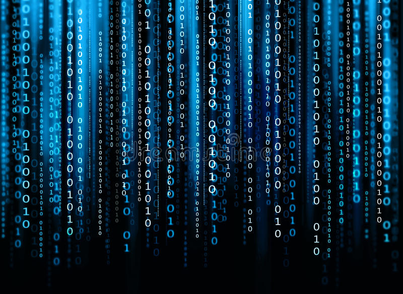 Computer code. Binary computer code flowing on the black background royalty free stock photo
