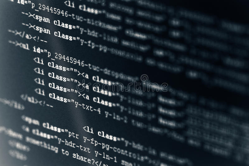Computer Code HTML. Monitor screen showing computer code, HTML royalty free stock images