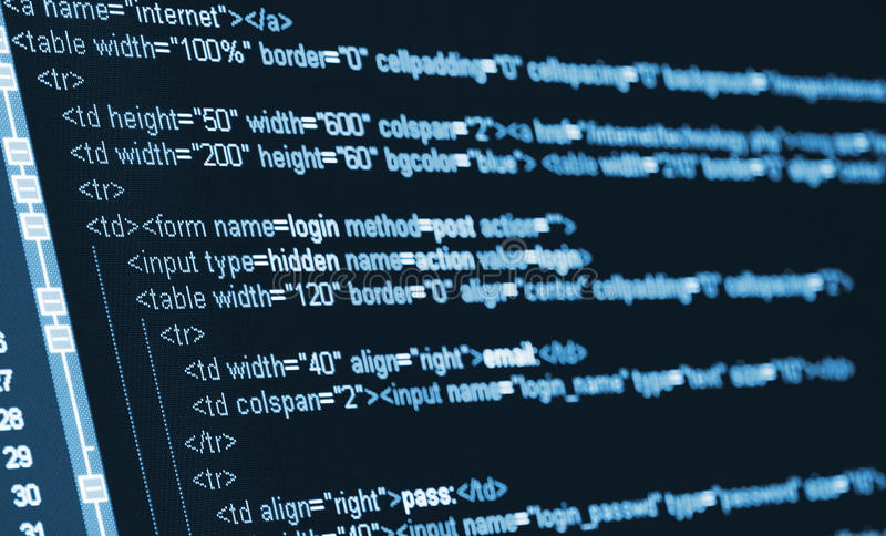 Computer Code HTML. On monitor royalty free stock photo