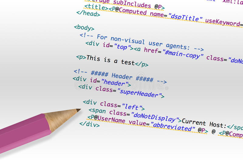 Computer code html. On a paper and a pencil stock photos