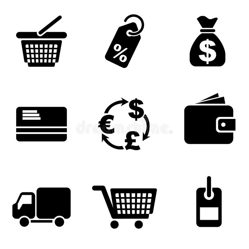 Download Computer commerce icons stock vector. Image of icon, simple - 24480938