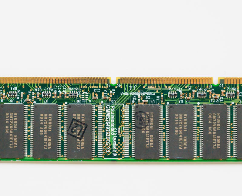 Computer component board with gold conductor coatings. The Hague, the Netherlands - December 3, 2016: computer component board with gold conductor coatings royalty free stock photos