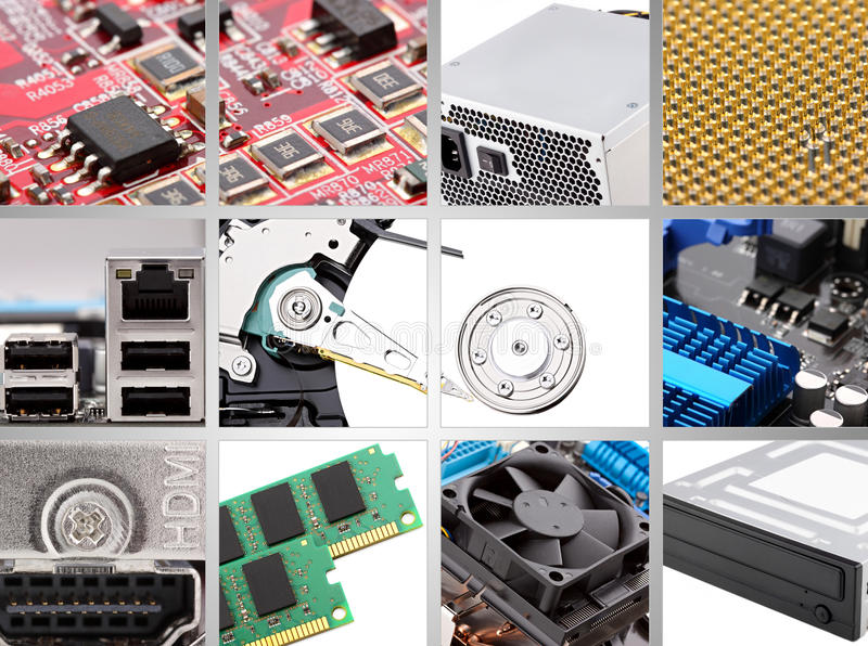 Computer components. Collage of different persona computer components stock images