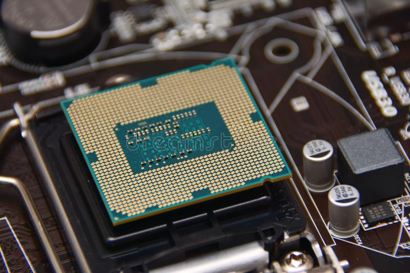 Computer components, CPU. Motherboard components, CPU close up royalty free stock photos