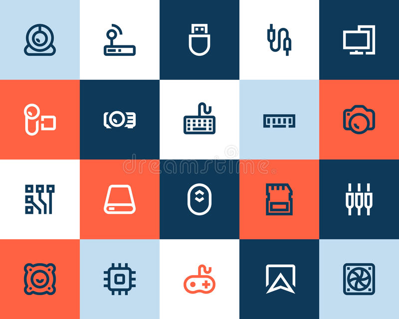 Computer components icons. Flat style. Computer components icons set. Flat style vector illustration