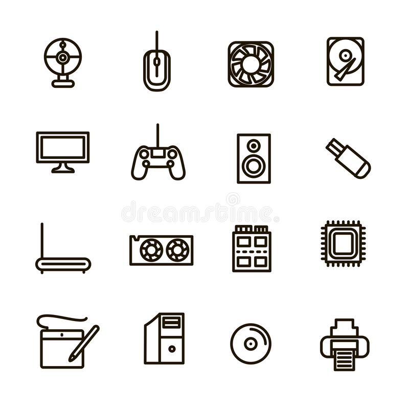 Computer Components Signs Black Thin Line Icon Set. Vector stock illustration