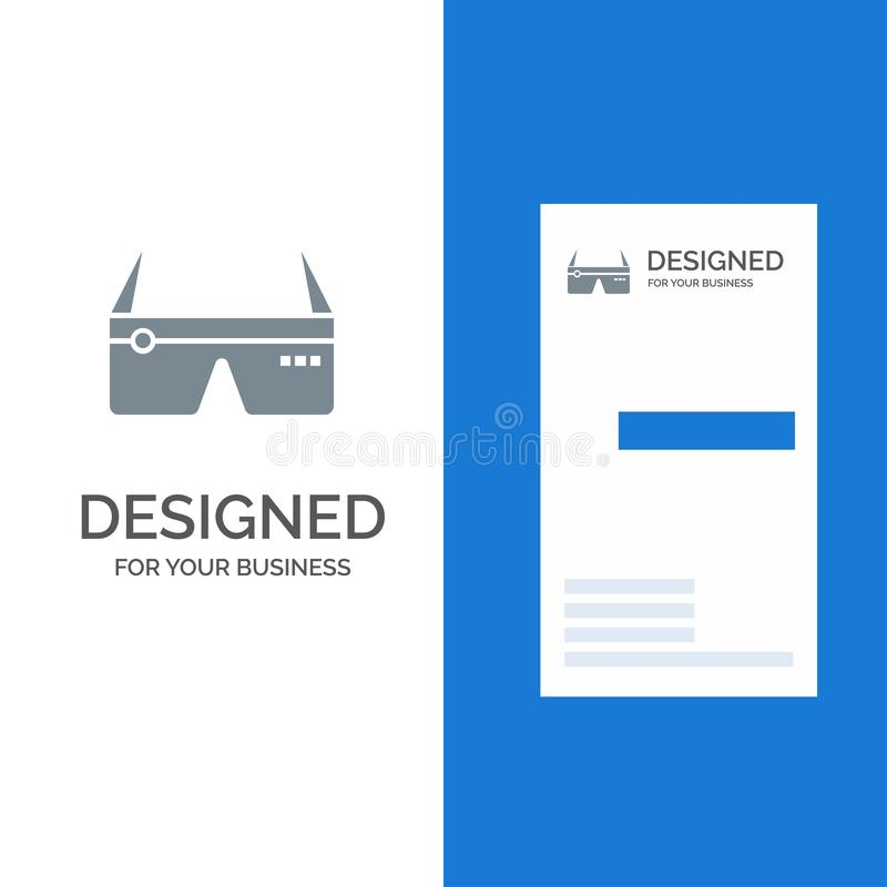 Computer, Computing, Digital, Glasses, Google Grey Logo Design and Business Card Template stock illustration