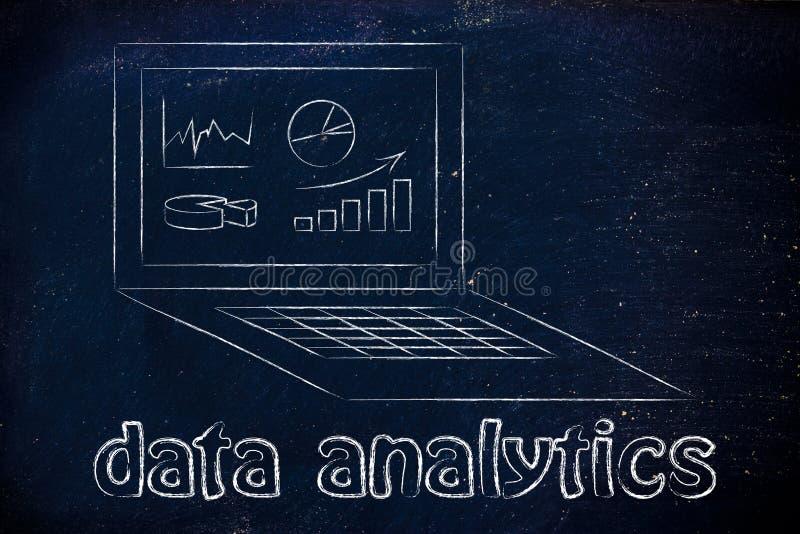 Computer con i grafici e lo stats per l'analisi dei dati di dati immagini stock libere da diritti