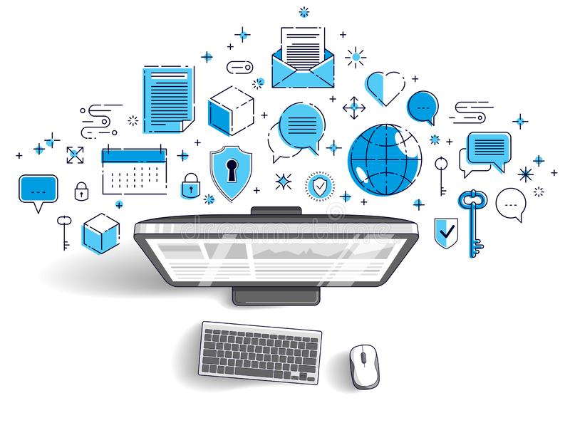 Computer con il infographics di statistiche e l'insieme delle icone, affare online, finanze elettroniche di Internet illustrazione vettoriale